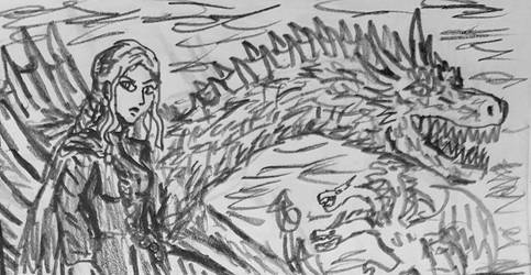 Dany and Drogon rough doodle sketch by TheRavensBastard39