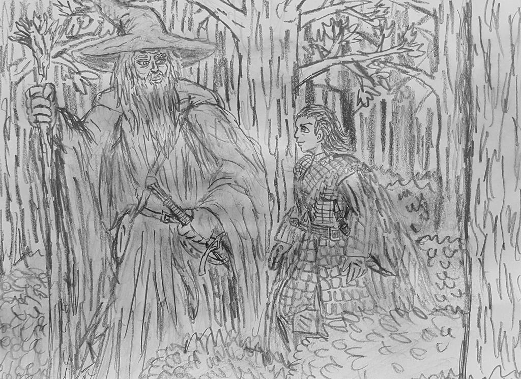 Arya and Gandalf concept sketch by TheRavensBastard39