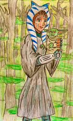 Ahsoka and Grogu portrait sketch