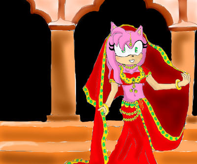 Amy Rose in a sari by FireWitch25