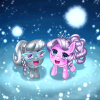 Diamond Tiara and Silver Spoon in snow by Jurisalis