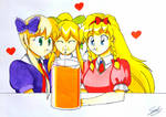 Three girls and one cup