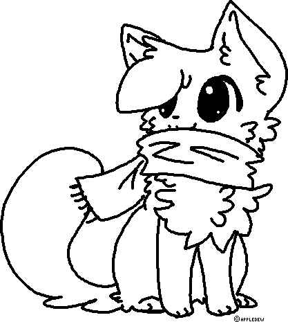 scarf kitty lineart free to useappledew on deviantart
