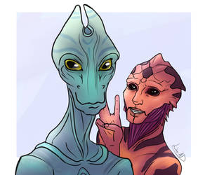 The Drell And Salarian by AlbinoNial