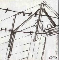Structure study with ink and paint brush by JUSTINQ88