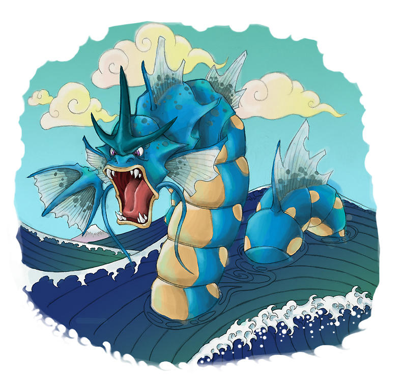 Gyarados Off Kanagawa by operatingthetan