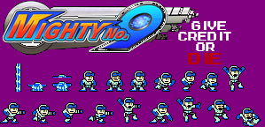 Mighty No. 9 Mega Man Styled Sprite-Sheet by ProfChristopher