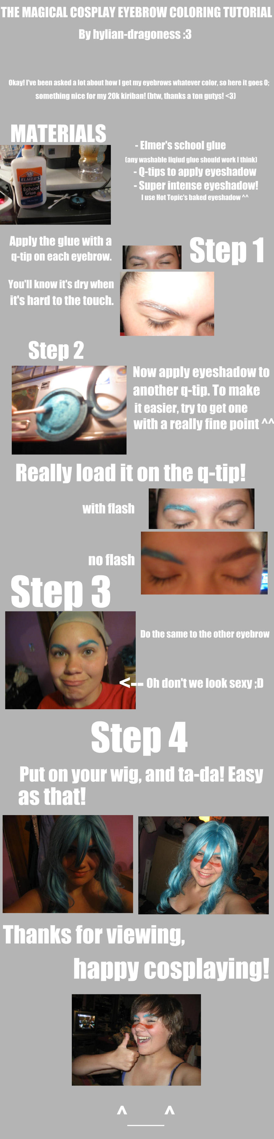 Eyebrow coloring tutorial by hylian-dragoness