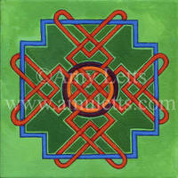 Knotwork with Green Background by amuletts