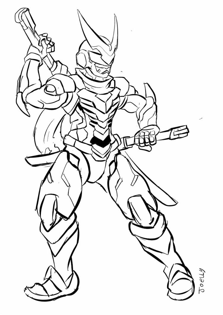 Genji sentai lines by artfanparadise on deviantart for Overwatch genji coloring pages