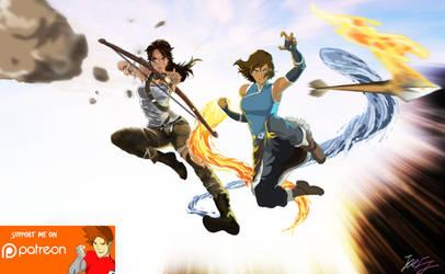 Worlds Collide: Korra X Croft by joeFJ