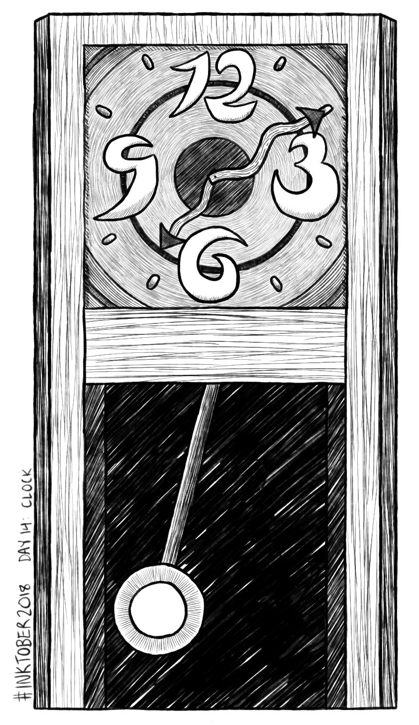 Inktober 2018 Day 14: Clock by Dotsarecool