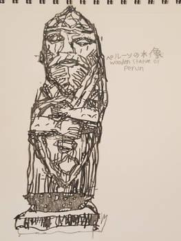 Wooden statue of Perun