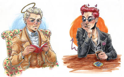 GO: Crowley and Aziraphale busts