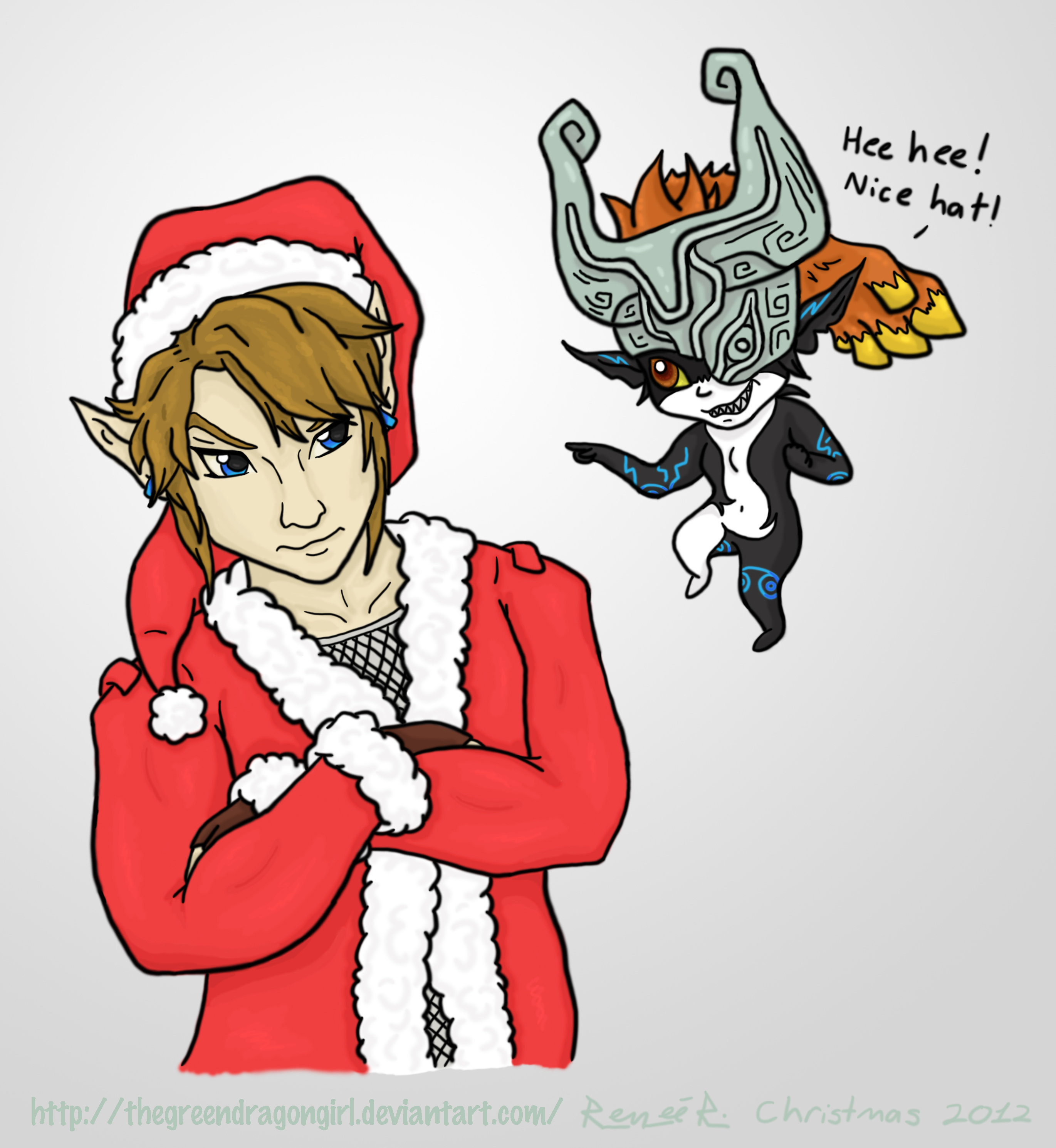 Midna and Link - Christmas 2012 by TheGreenDragonGirl on DeviantArt