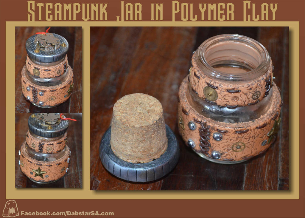 Steampunk Glass Jar in Polymer Clay by Dabstar