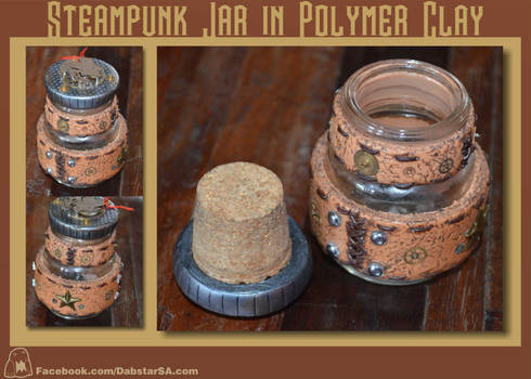 Steampunk Glass Jar in Polymer Clay