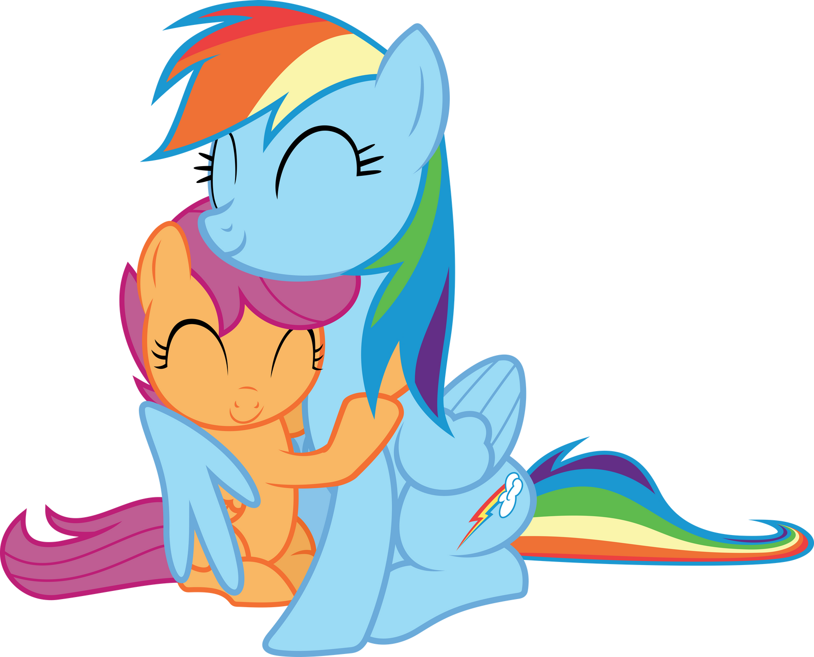 Rainbow Dash Scootaloo Hugging By Timelordomega On Deviantart Rainbow dash's main tic is constantly being in the air, even when she's doing nothing but hovering in place. rainbow dash scootaloo hugging by