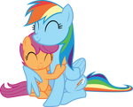 Rainbow Dash Scootaloo hugging