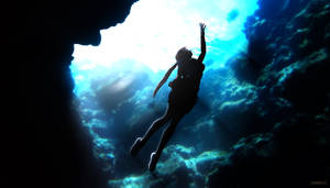Lara underwater