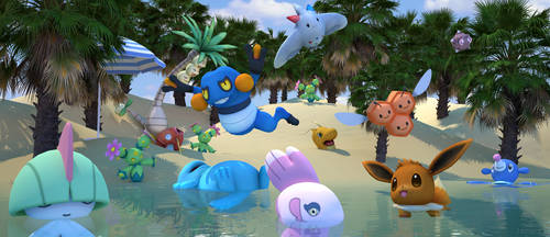 Pokemon beach by James--C