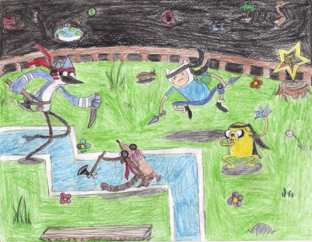 Mordecai  Rigby v Finn  Jake by WaRrior9100