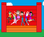 Me And My Friends Jumping In A Bounce House