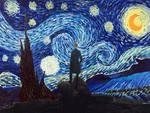 Wanderer under a Starry Night