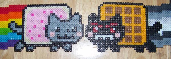 Nyan Cat + Tacnyan Perler Bead by Viverra1