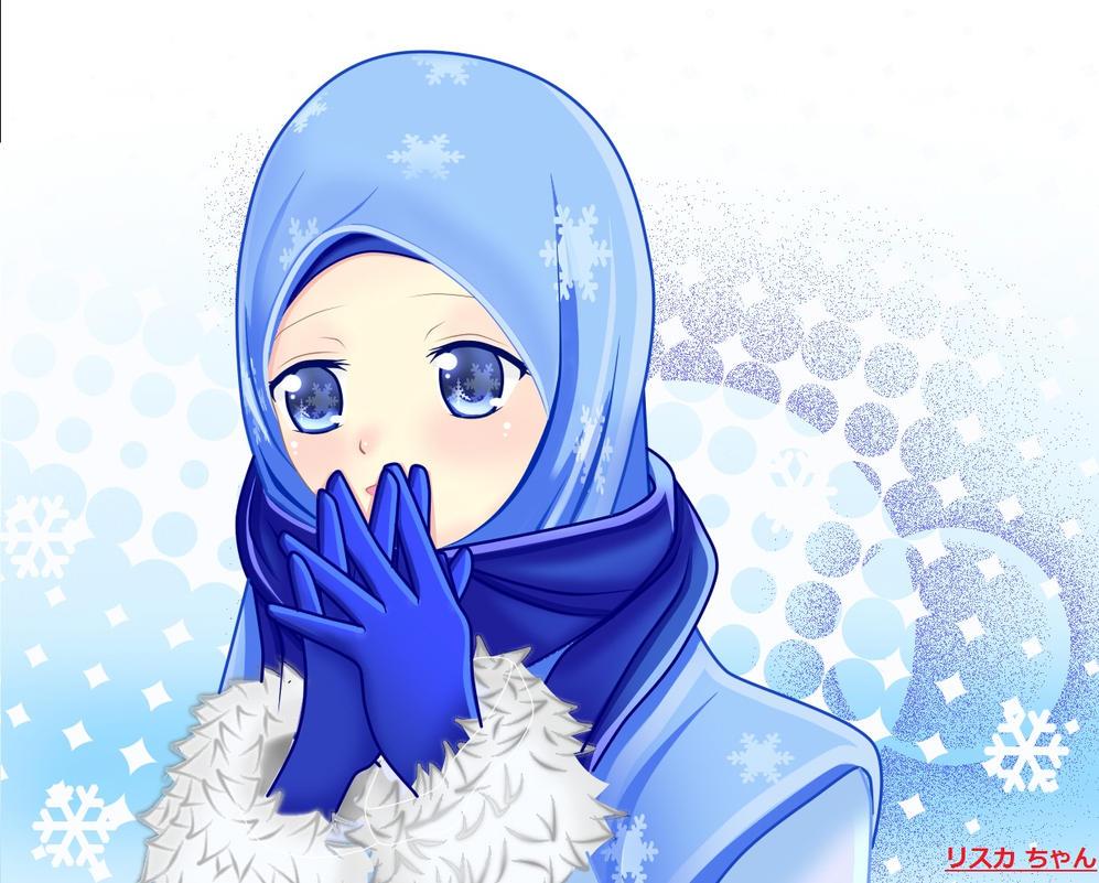 miku snow hijab by risqavoni