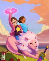 Steven Connie and Lion by Peanutmonger