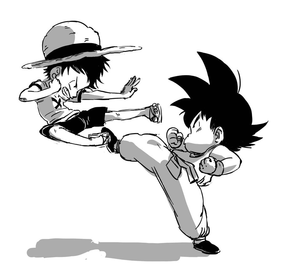 Kid Luffy And Little Goku Practicing Kempo ! By Nounouille
