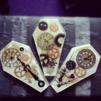 three steampunk style coffin pendants by cybergeisha