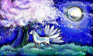 Fox under Moon by iscalox