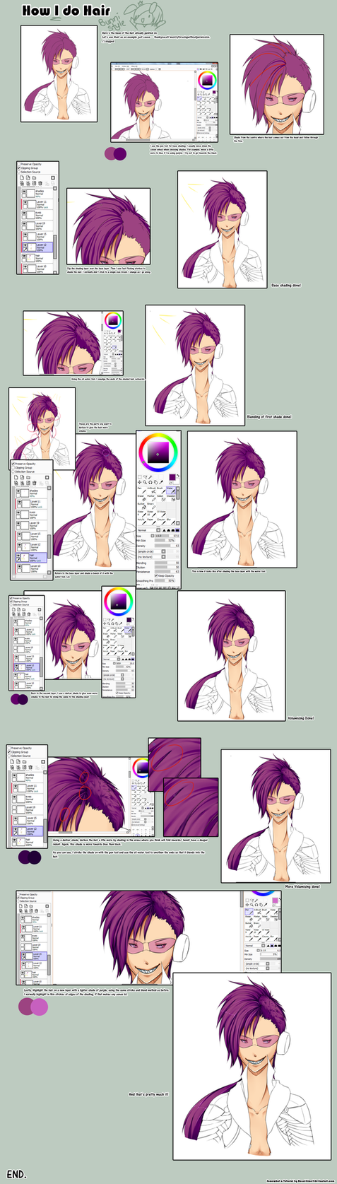 How I colour Hair: Tutorial by Bunni-Hime