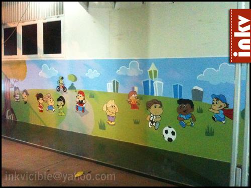 Mural of the children in the playground by aranir on for Mural sekolah