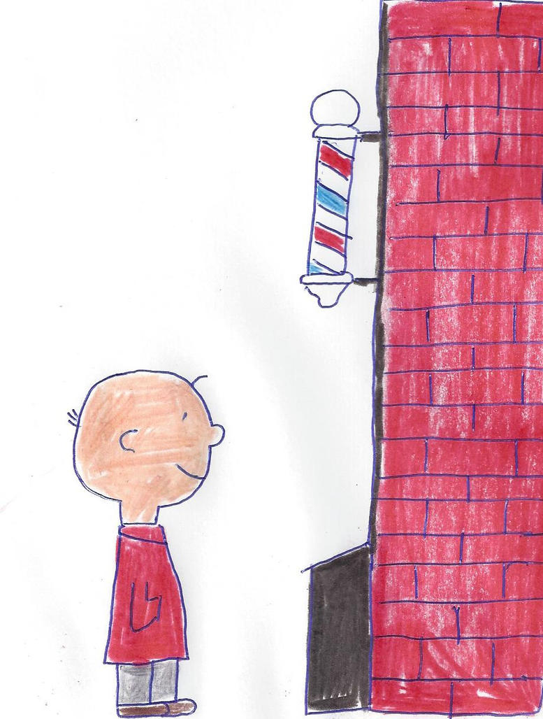 Charlie Brown in front of his Dad's barber shop by dth1971