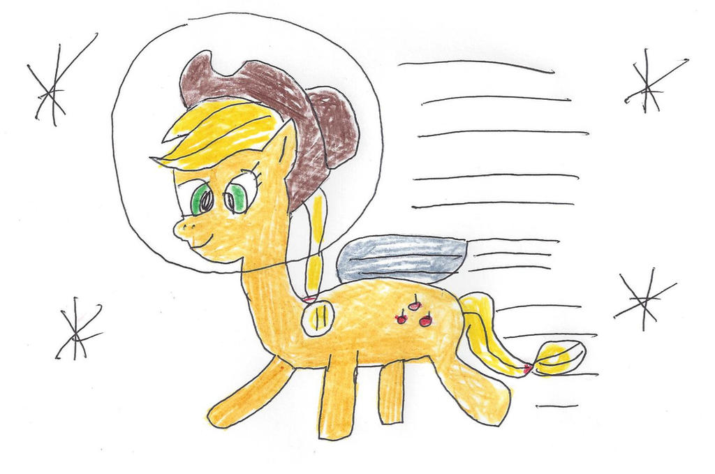 Applejack flying in outer space by dth1971