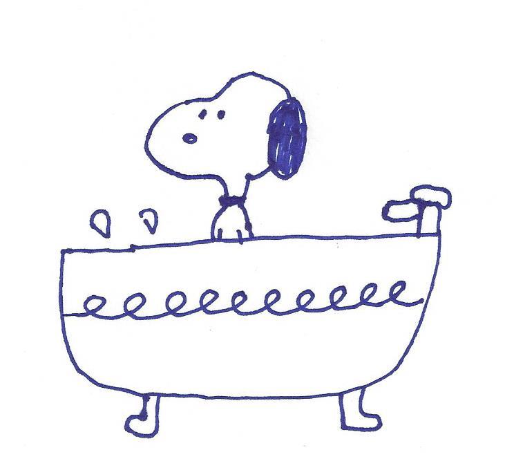 Snoopy in a bathtub by dth1971