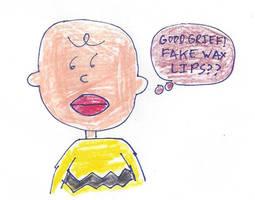 Charlie Brown sporting wax lips