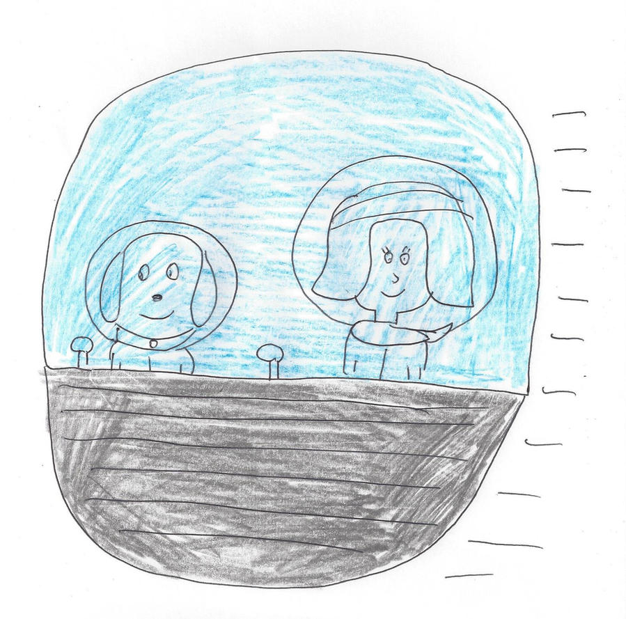 Whopper and Holly in an outer space spaceship by dth1971
