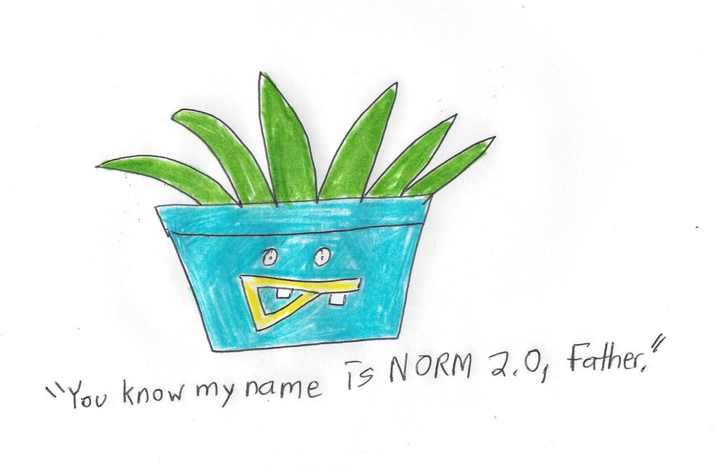 A plant with Norm's face drawn on by dth1971