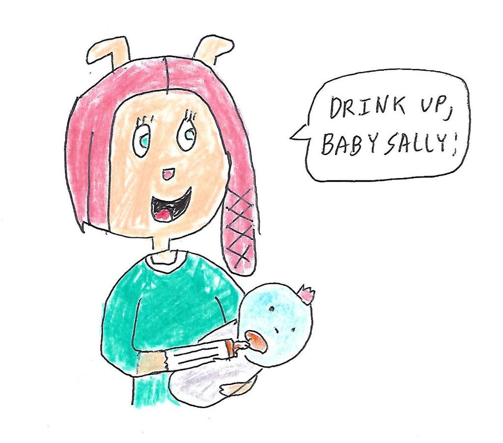 Bridget gives Sally Platypus her baby bottle by dth1971