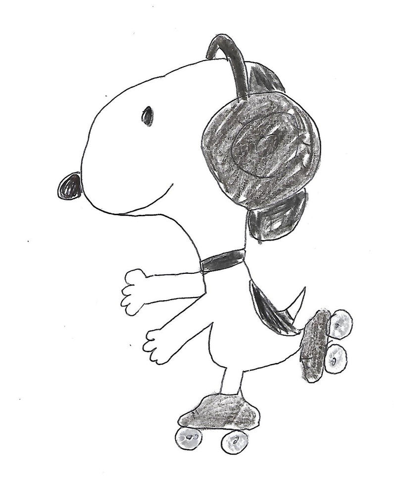 Snoopy on roller skates and wearing headphones by dth1971