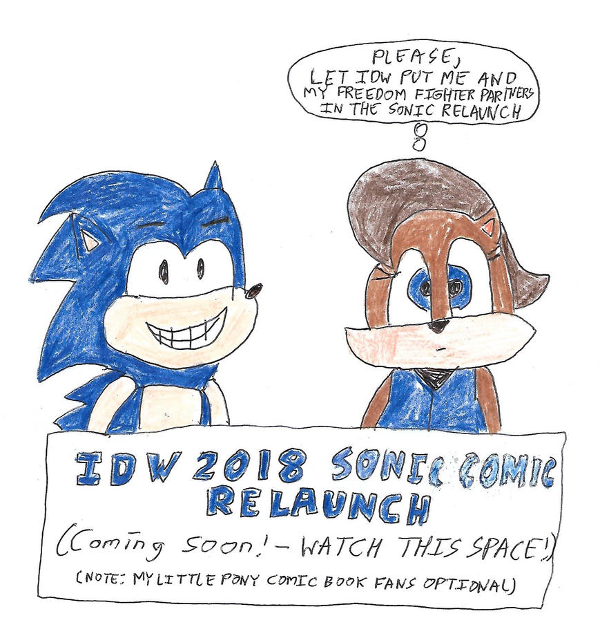 Sonic and Sally - IDW 2018 SONIC RELAUNCH SIGN by dth1971