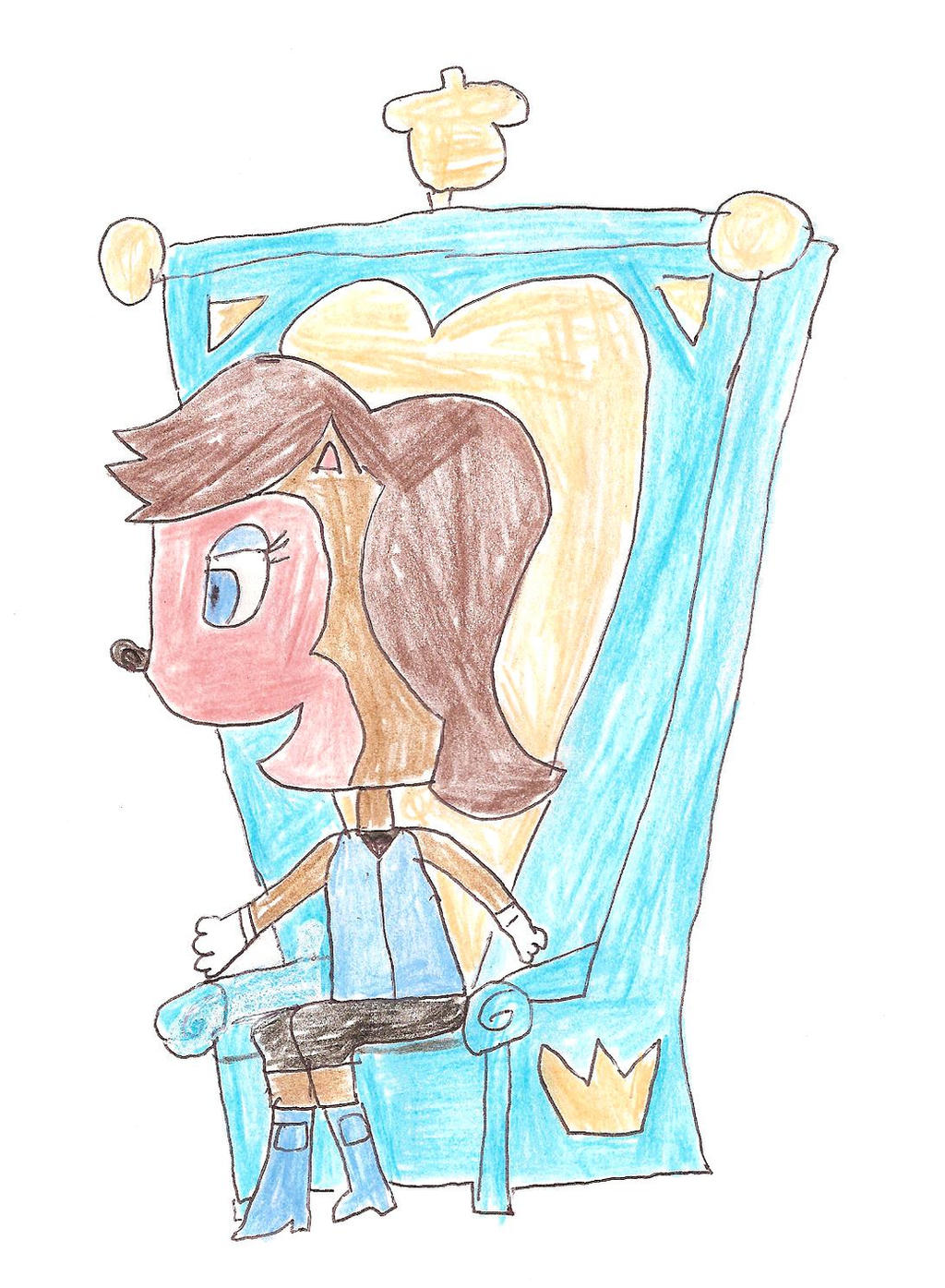 Sally Acorn sitting at her throne chair by dth1971