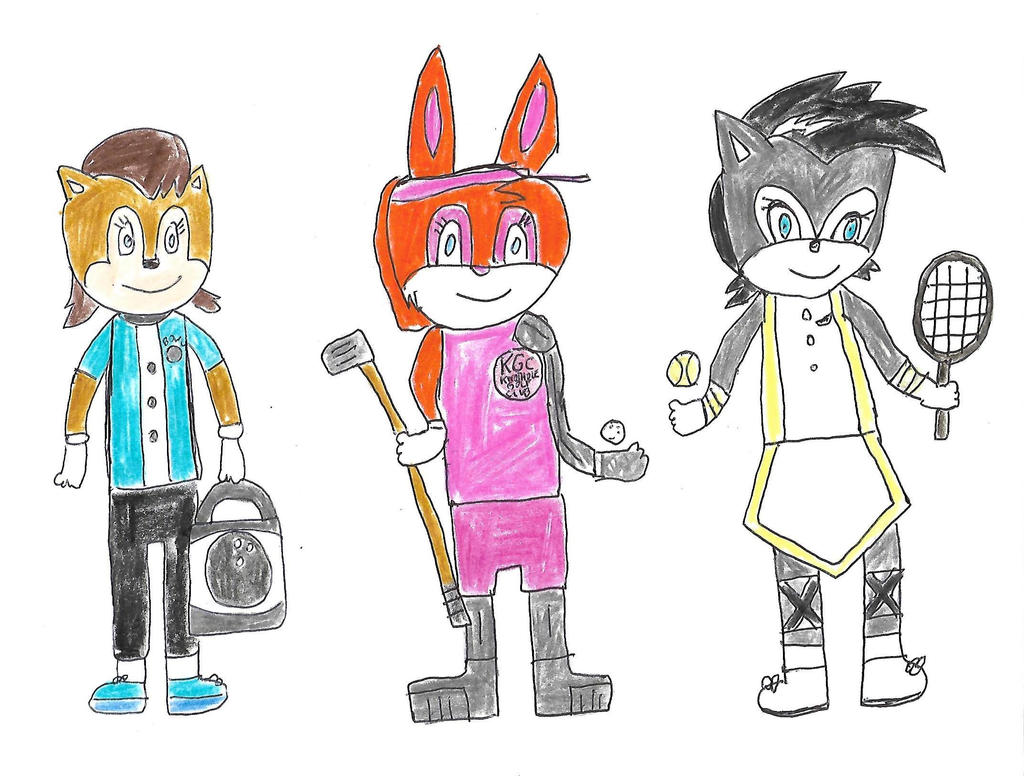 Sonic girls in sports outfits by dth1971