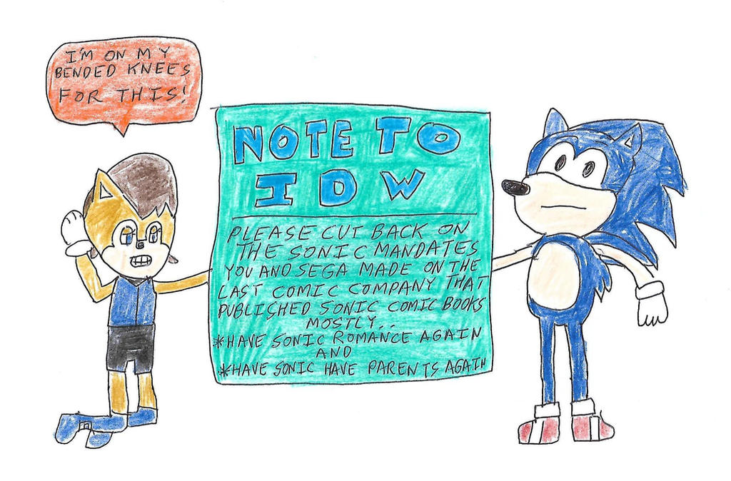 Sonic's note to IDW by dth1971
