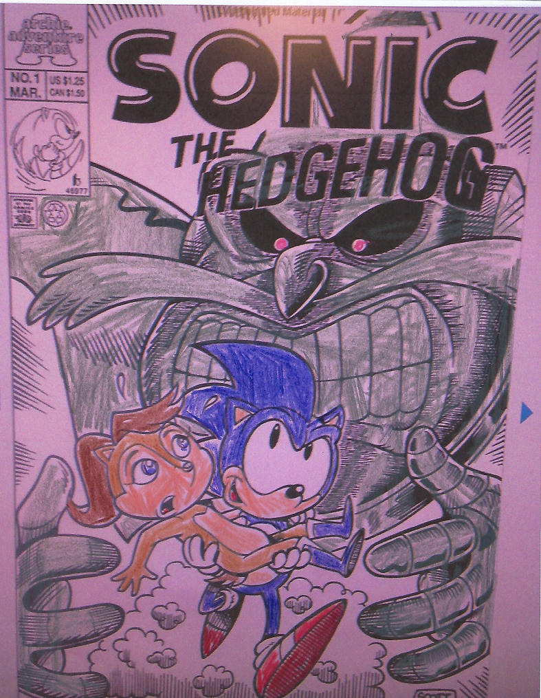 Colored in Sonic the Hedgehog cover to issue #1 by dth1971