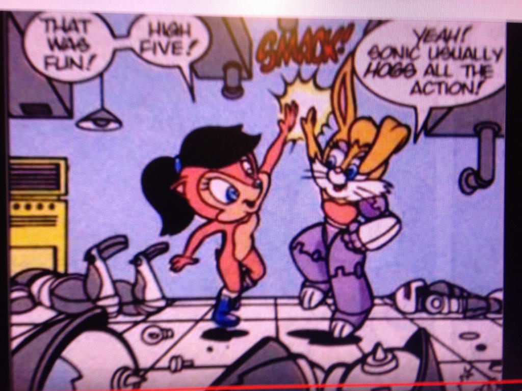 Sally and Bunnie High-Five Sonic comic book scene by dth1971
